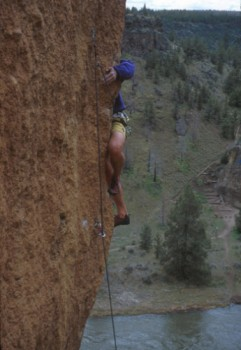A climber on The Blade (5.12a) at Smith Rocks, Oregon.