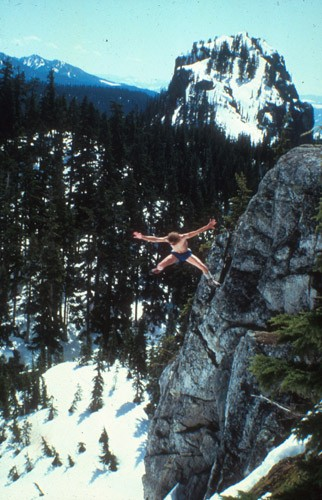 "Glenn ""Dr. Death"" Nelson jumping 50 feet into a snow bank in the Casca..."