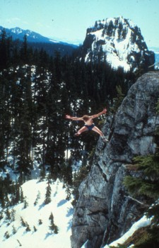 """Glenn """"Dr. Death"""" Nelson jumping 50 feet into a snow bank in the Casca..."""