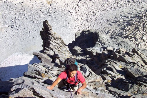 Brad Goya on pitch 5 of the Temple Crag's Moon Goddess Arête. Pitches ...