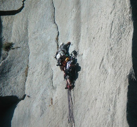 Three climbers at the belay after the Great Roof on The Nose, El Capit...