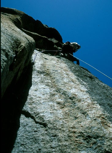 "Tim Lawrence, just before the ""no crux 11a"" section on pitch 5 of Sout..."
