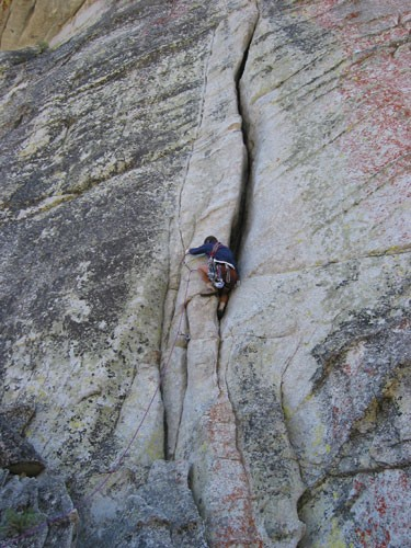 Dave Goldstein on the second pitch of Traveler Buttress. He is just en...