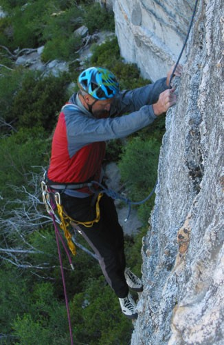 Al Ramadan on the first pitch of Fantasia (5.9 R). This photo shows th...