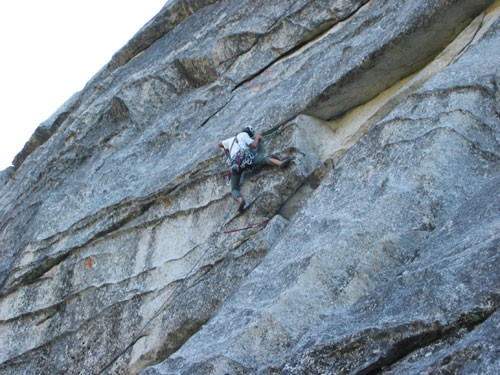 Dave Goldstein on the first pitch of Fantasia (5.9 R). After a...