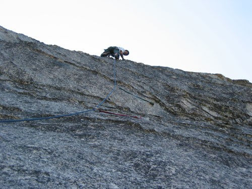 Dave Goldstein on the second pitch of Fantasia (5.8 R). Those two piec...