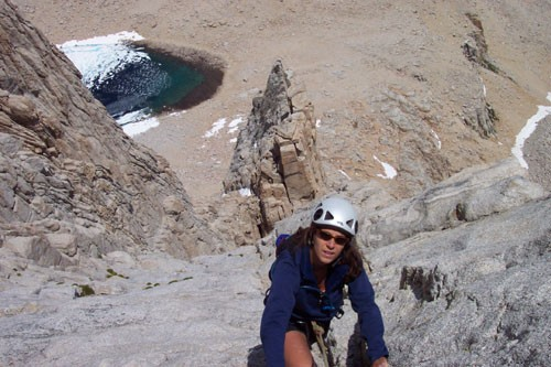 Sarah Felchlin on the Washboard, East Face of Mt. Whitney.
