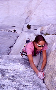 Stacy climbing the second pitch of the Regular Route of Fairview Dome.