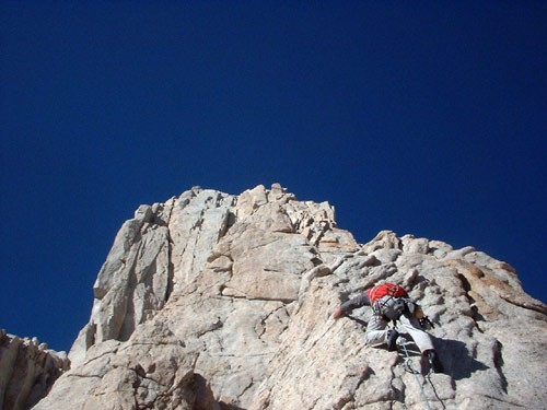 Tom Mason climbing pitch 3 of East Buttress, Mt. Whitney. This is one ...