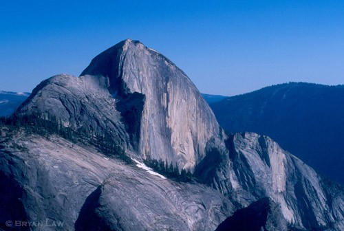 Half Dome, The Porcelain Wall, and Illilouette Ridge, from the summit ...