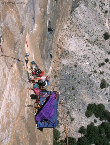 Warren Hollinger on the FA of Neds Excellent Adventure, El Cap.  Note...