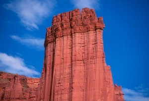 King Fisher Tower, Fisher Towers, UT.  Note white belay seat on The Ha...