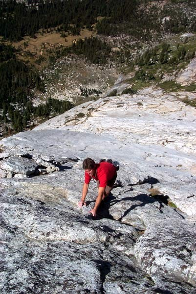Austin Archer soloing high on Tenaya Peak.