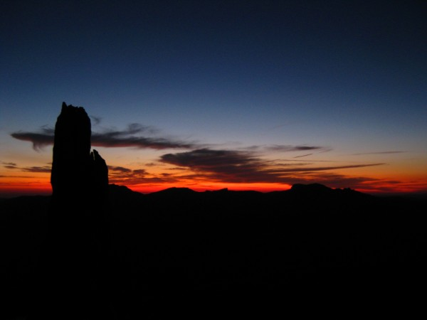 E. Pinnacle at sunset from the summit of Cathedral Peak.