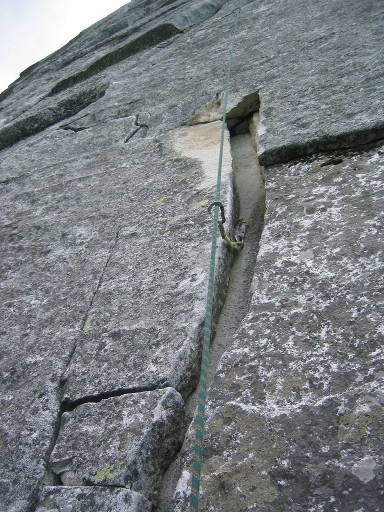 The left traverse on the second pitch has changed were a 3x3 flake has...