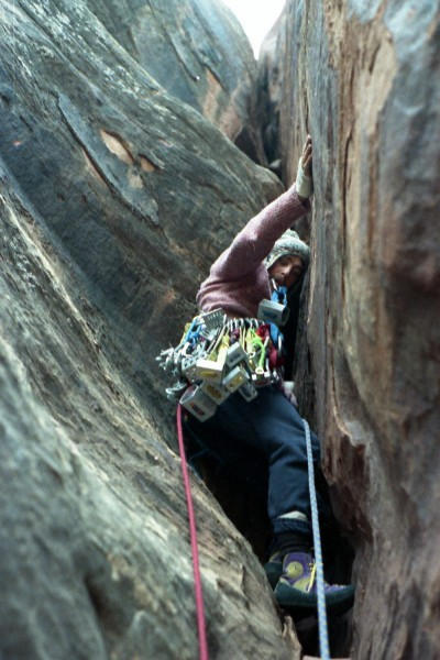 "About to stack! Our first ascent of ""Fringe of Life."" 5.12, four long ..."