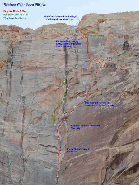 Photo Topo for the Upper Pitches.