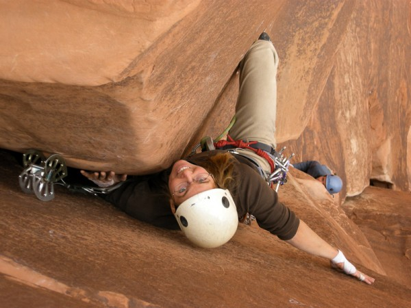 Steph leading the 5.10 offwidth on the second pitch. 