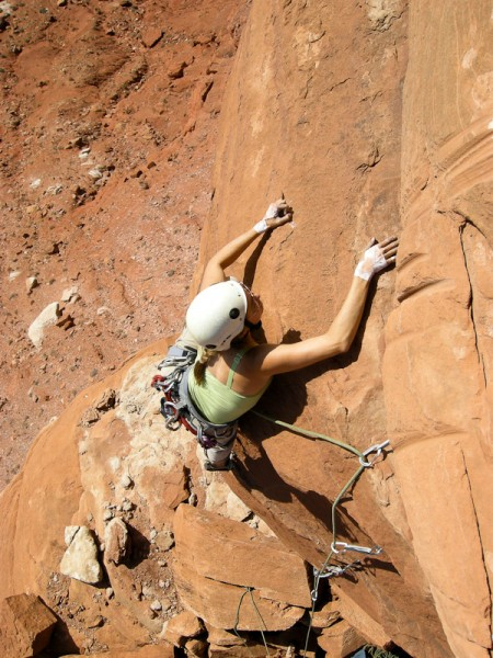 Steph leading the 5.10 3rd pitch just below the summit. <br/>