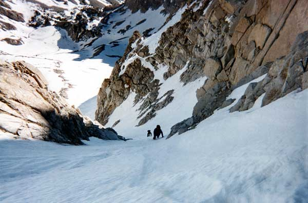 Larry Cote and Craig Morris on the NE Couloir of Mt. Humphries.