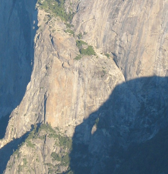 El Capitan East Buttress and East Ledges Descent area, from Sentinel R...