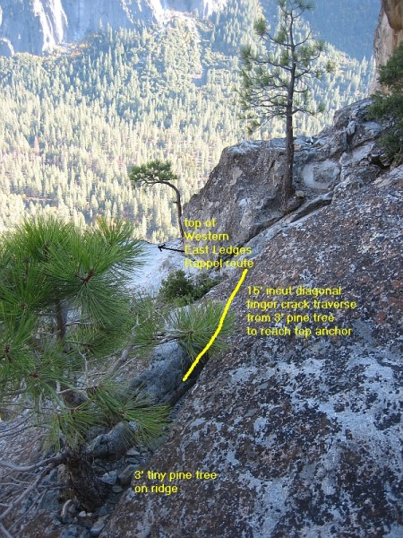 Final traverse from 3' tiny pine tree to top of Western East Ledges Ra...