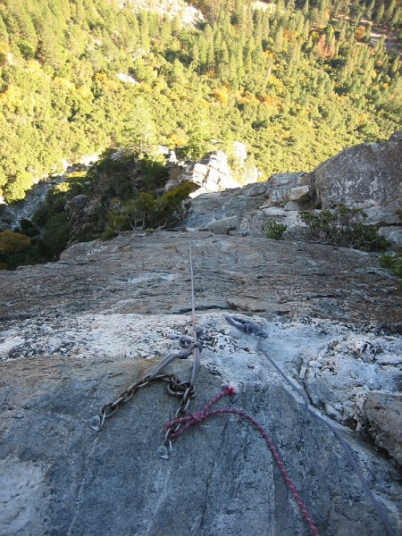 View down from top anchor of Western East Ledges Rappel route. 
