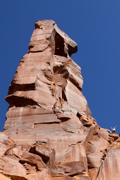 Tom on top of pitch one of Tiki Tower. <br/>