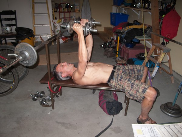 Lifting weights in the garage
