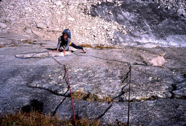 Steve Grossman on the lower slabs of Burning Spear.