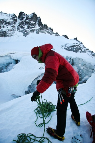 Amos Swanson gearing up on the glacier.