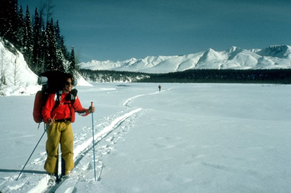 Skiing down the Susitna River on day 2