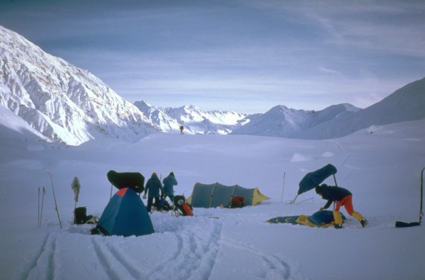 Camp 4 above the toe of the Buckskin Glacier, 2100'