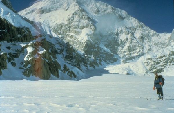 Skiing below the South Face of Denali