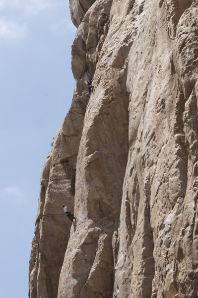 Climbers on pitch 3, The Shining Slab, 5.11b