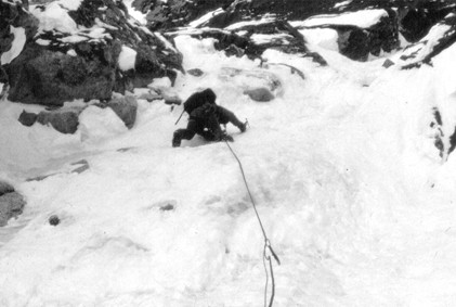 Climbing in the lower gully, DNB Rooster Comb