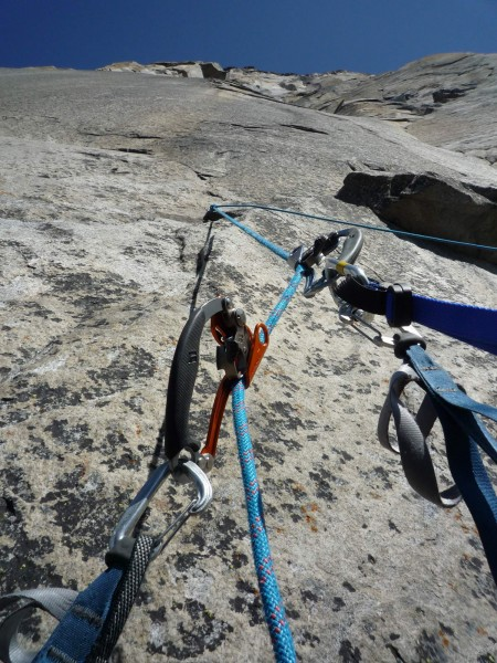 The nForce ascenders around pitch 18 on Wall of Early Morning Light, E...