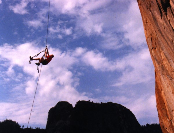 Chris McNamara jugging up the first pitch of South Seas, El Capitan.
