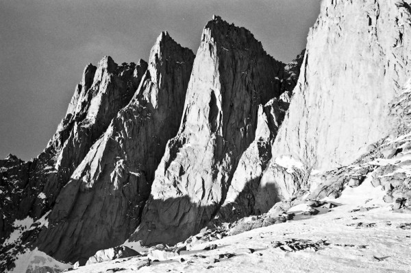 A view of the Keeler Needle in morning light.