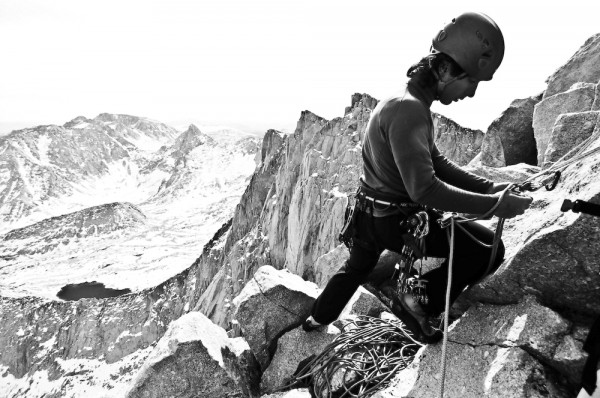 Hamik at work on the East Buttress.