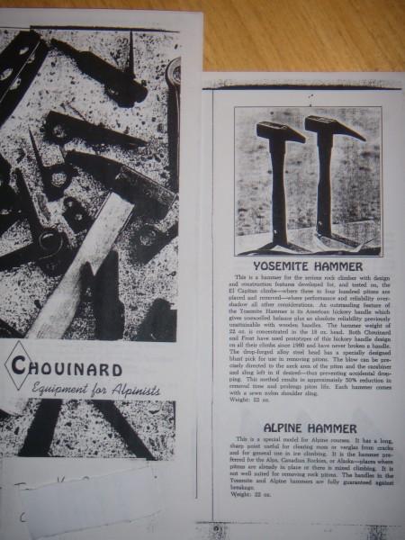 Chouinard 1967 catalog - hammer page