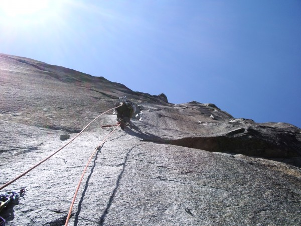 Doug Goforth leading up the steep stone.