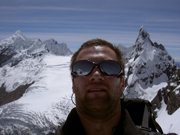 Summit of maparaju, peru. Cayash in the background, santa cruz in my g...