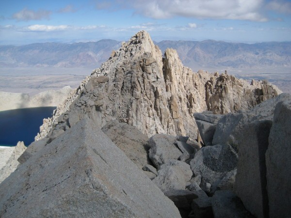 Looking down the East Ridge toward Lake Tulainyo from the summit.