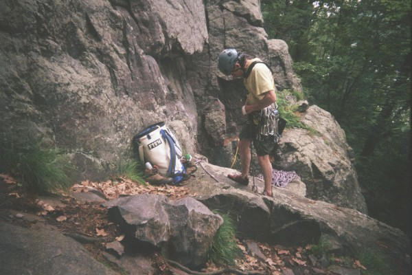 Getting ready to lead the Bone 5.5 at Devil's Lake, Pork Chop buttress