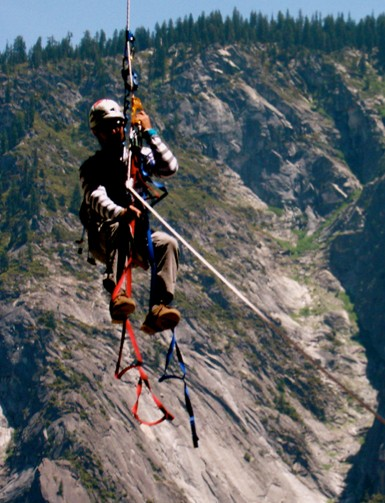 Unknown climber from Bend, OR, jugging 350 feet of fixed line -- to P3...