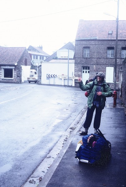 Tommy D hitchhiking rural France. <br/>
