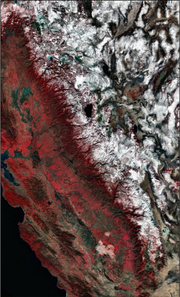 Satellite image (MODIS instrument) of the whole Sierra Nevada ...