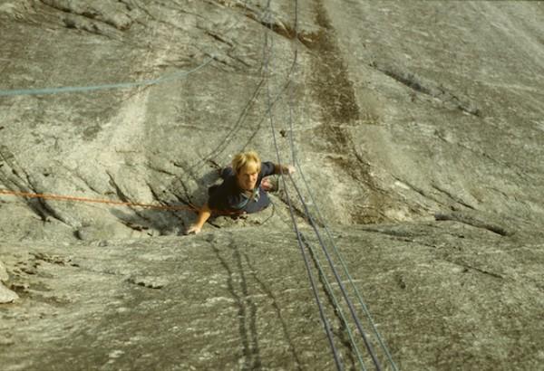 Mike Beaubien - Traversing into the base of the Split Pillar, Grandwal...