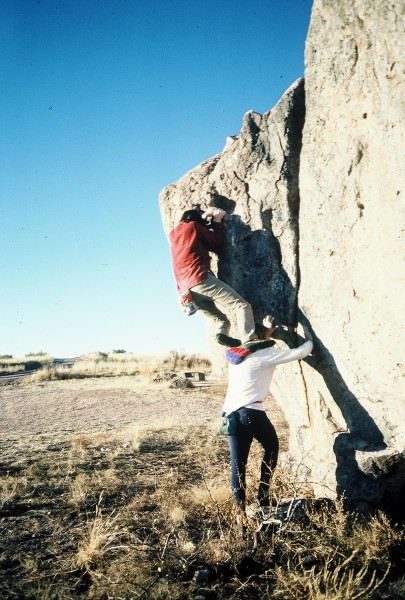 A rare photo of Chez with a assist from Prunes at bouldering